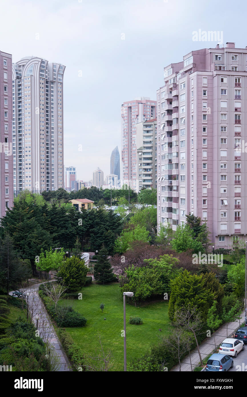 Atasehir is the new banking quarter of Istanbul with banks, hotels, massive gated communities and lots of highways. - Stock Image