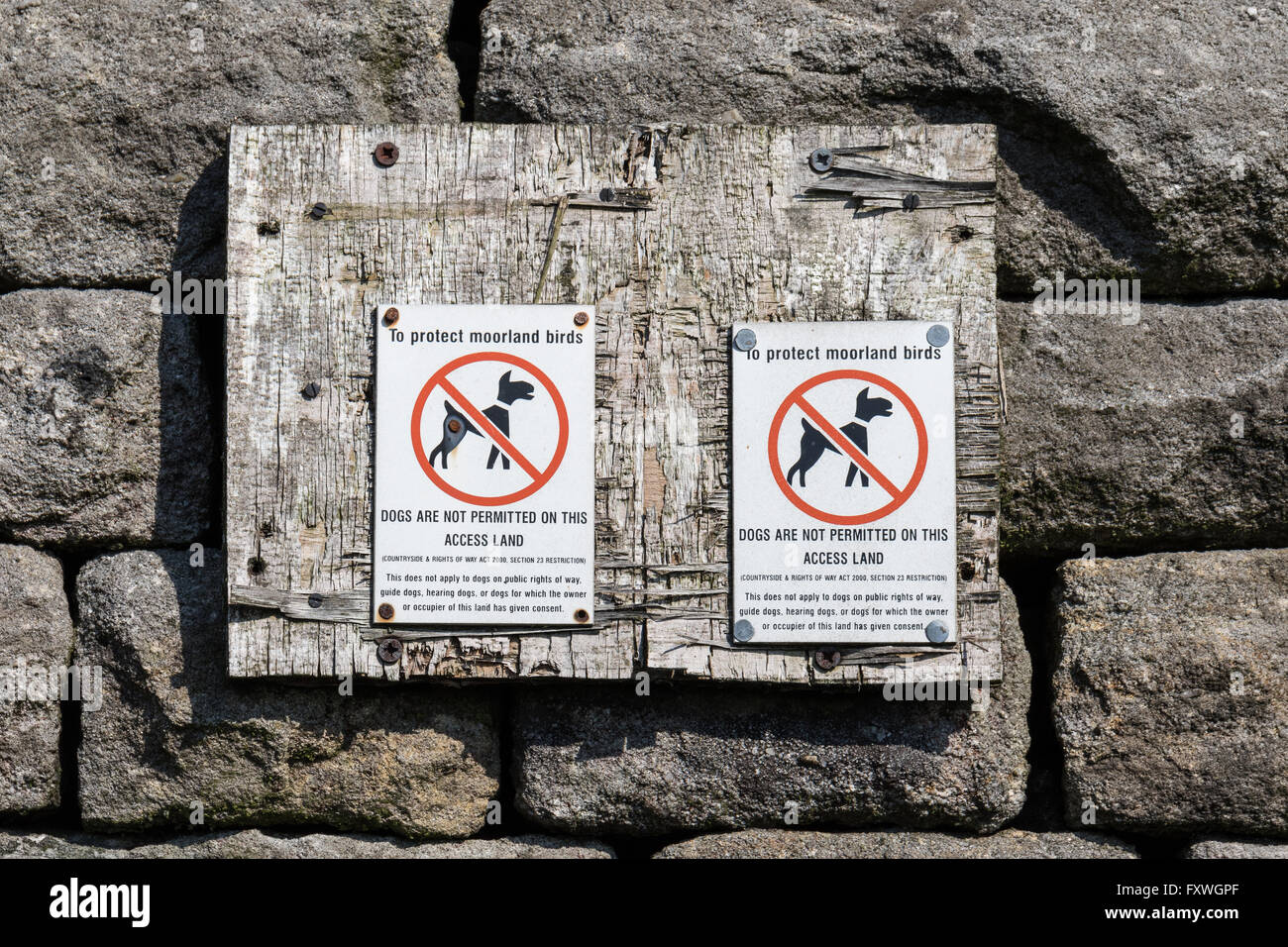 Moorland birds protecting sign - Stanage Edge, Derbyshire, UK - Stock Image