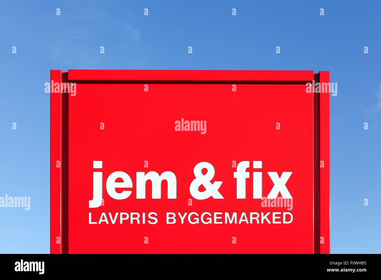 Jem and fix logo on a panel - Stock Image