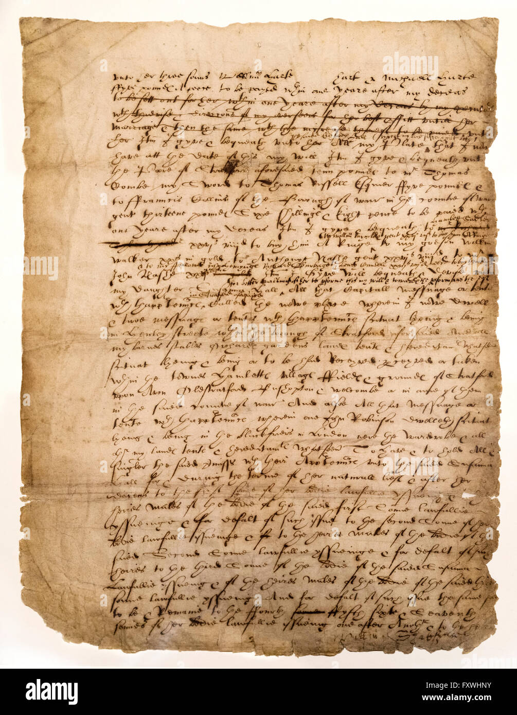 William Shakespeare's last will and testament (Page 2 of 3) - Stock Image