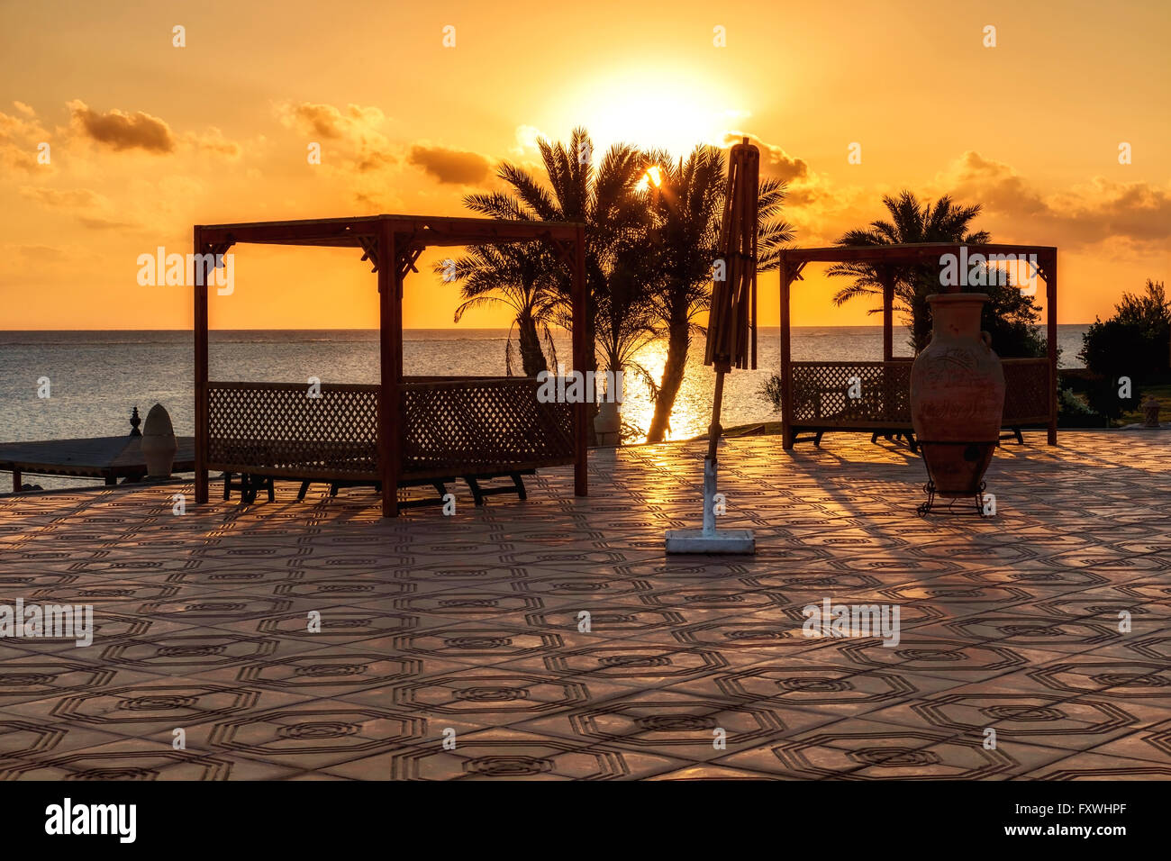 sunset in Marsa Alam, red sea, Egypt - Stock Image
