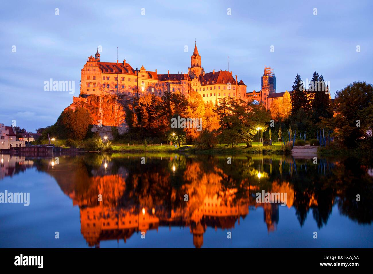 Sigmaringen Castle, princely castle for the Princes of Hohenzollern-Sigmaringen in Sigmaringen, Baden-Wuerttemberg, - Stock Image