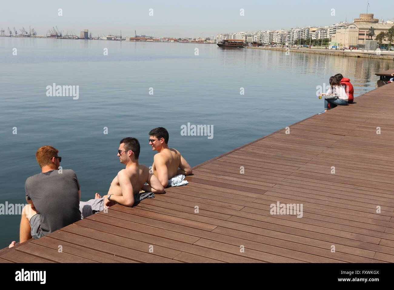 Thessaloniki, Greece, 18 April 2016  People enjoy unusual warm Stock