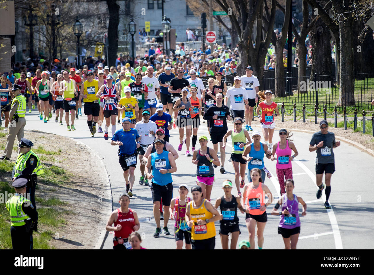 Boston, MA, USA. 18th April, 2016. Over 30,000 participants take part in the 2016 Boston Marathon. This year marks - Stock Image
