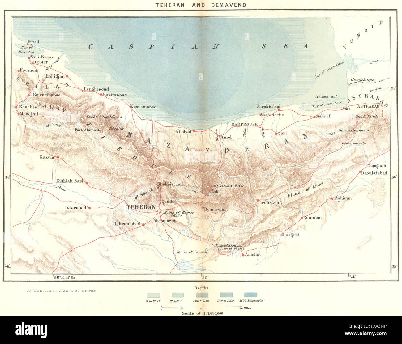 IRAN: Tehran & Demavend, c1885 antique map Stock Photo: 102606610 ...