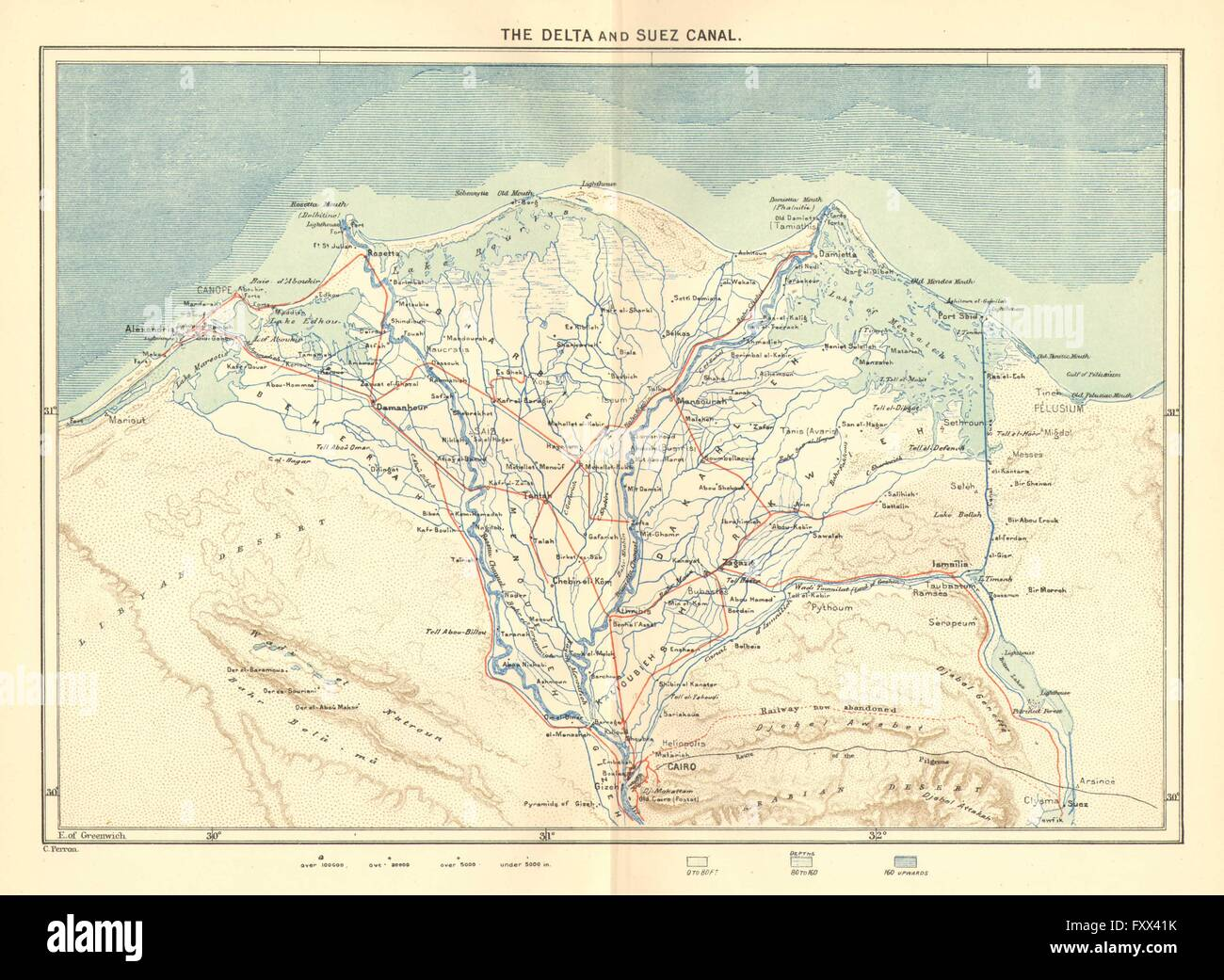 Map of the suez canal stock photos map of the suez canal stock egypt delta suez canal c1885 antique map stock image gumiabroncs Image collections
