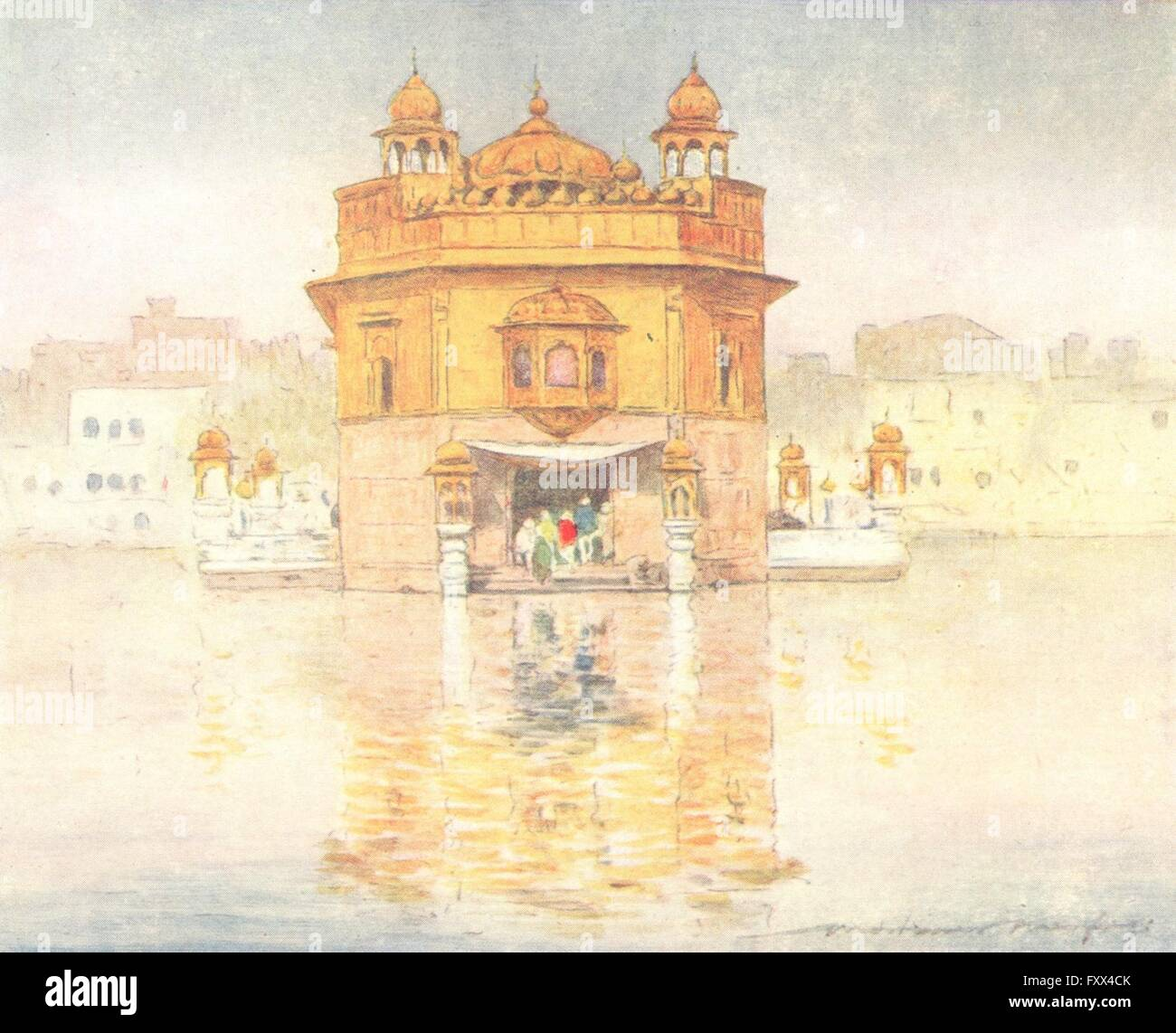 INDIA: Golden temple, Amritsar, antique print 1905 Stock