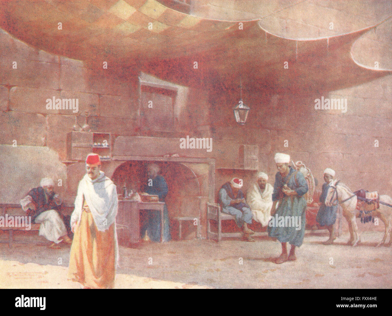 An Arab Café EGYPT Cairo 1912 old antique vintage print picture