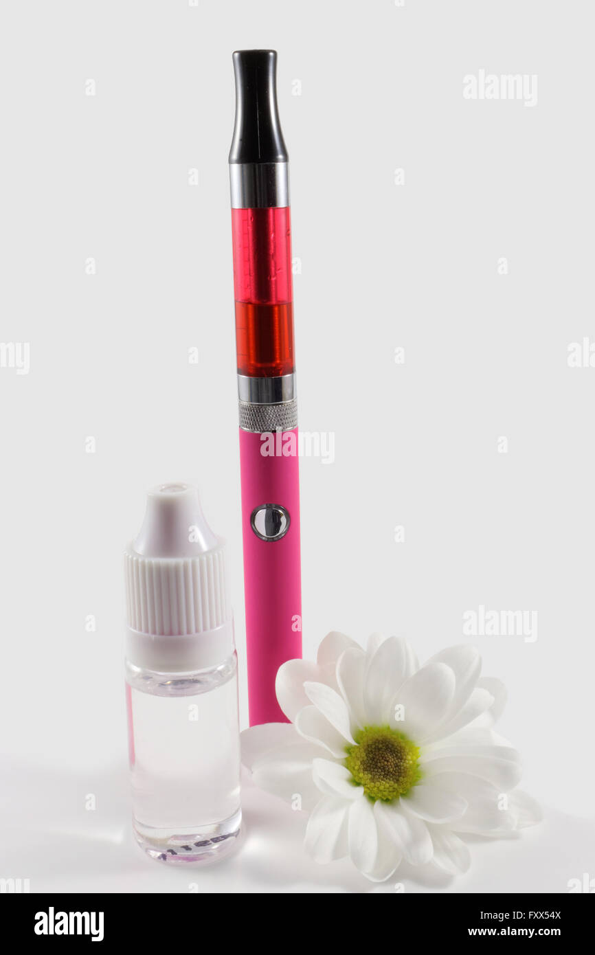 Pink Electronic Cigarette And Bottle Of Liquid Decorated With White