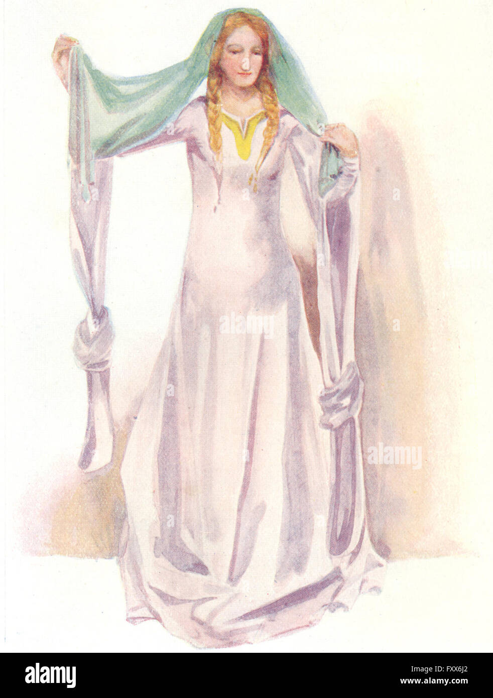 COSTUME: A Woman of reign Stephen 1135-1154, vintage print 1926 - Stock Image