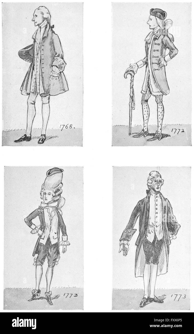 ENGLAND: DRESS Reign George 3rd: 1768; 1772; 1773; , vintage print 1926 - Stock Image