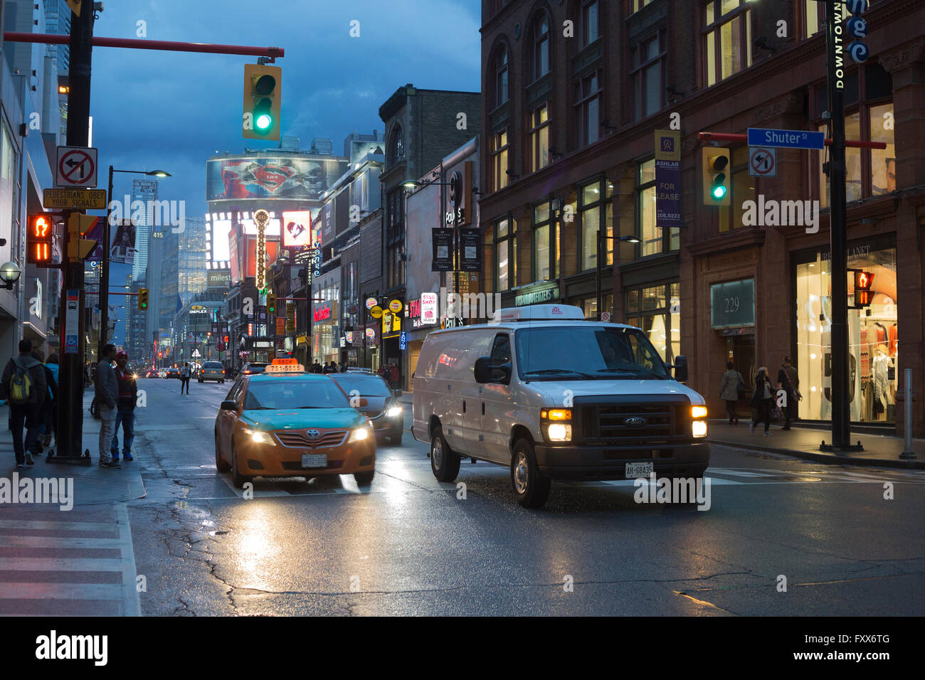Yonge and Shuter intersection in downtown Toronto - Stock Image