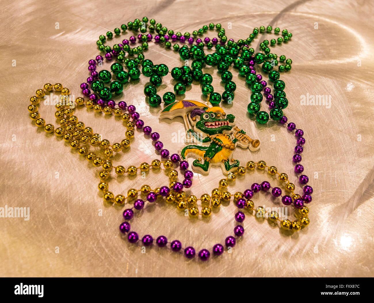 Gumbeaux Gator, the mascot and good will ambassador of Southwest Louisiana - Stock Image