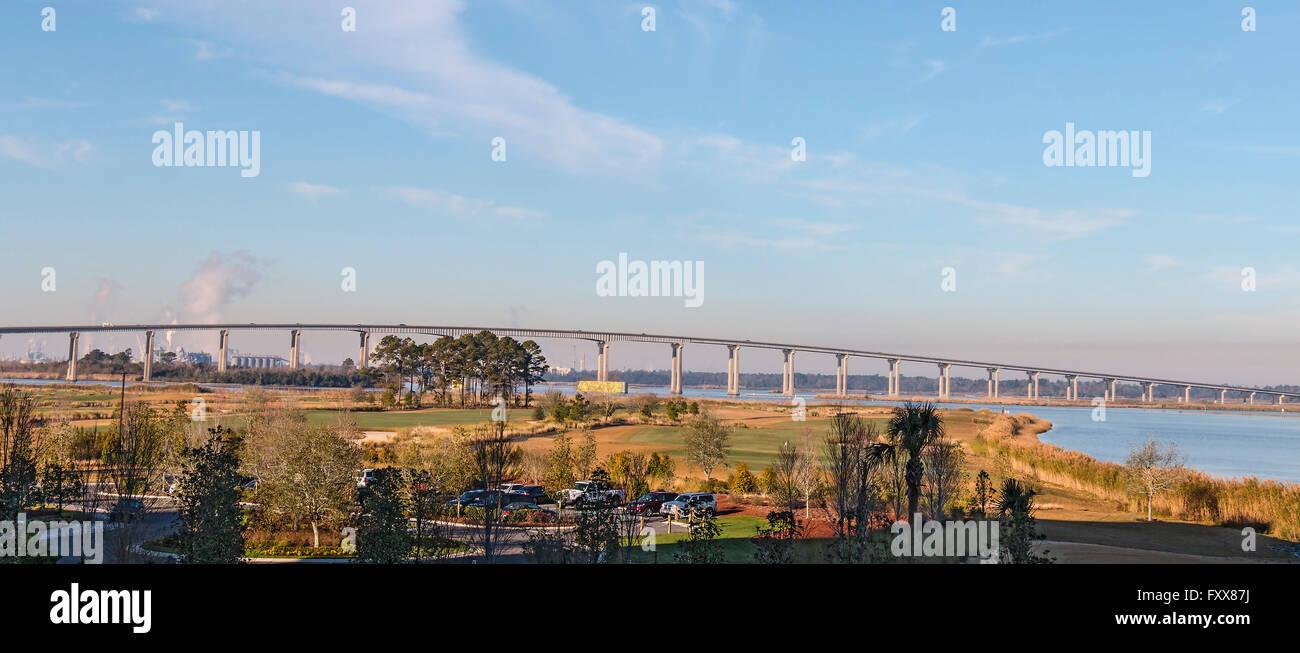 Interstate 210 (I-210) Bridge over Lake Charles, LA, USA. - Stock Image