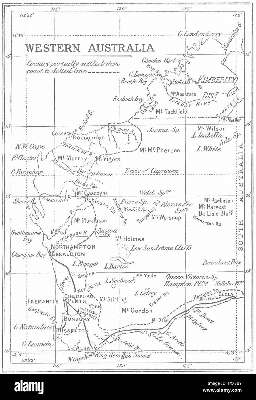Map Of Western Australia With Towns.Western Australia Showing Settled Areas Towns 1897 Antique Map