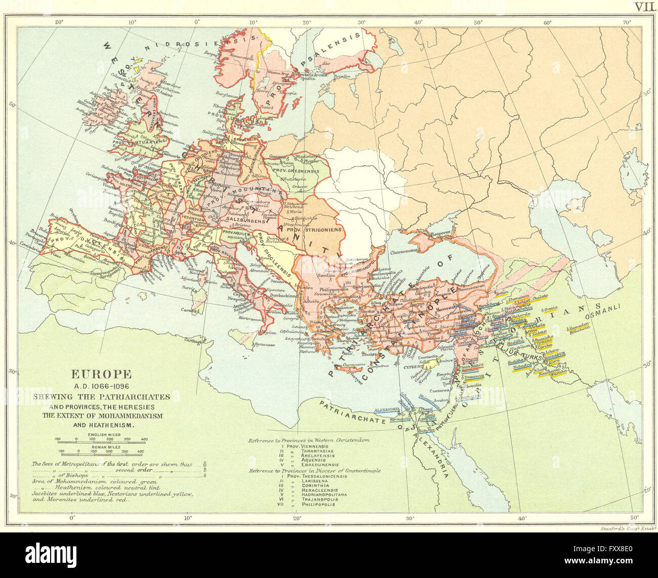 Religious Europe 1066 1096ad Patriarchates Provinces Heresies Islam