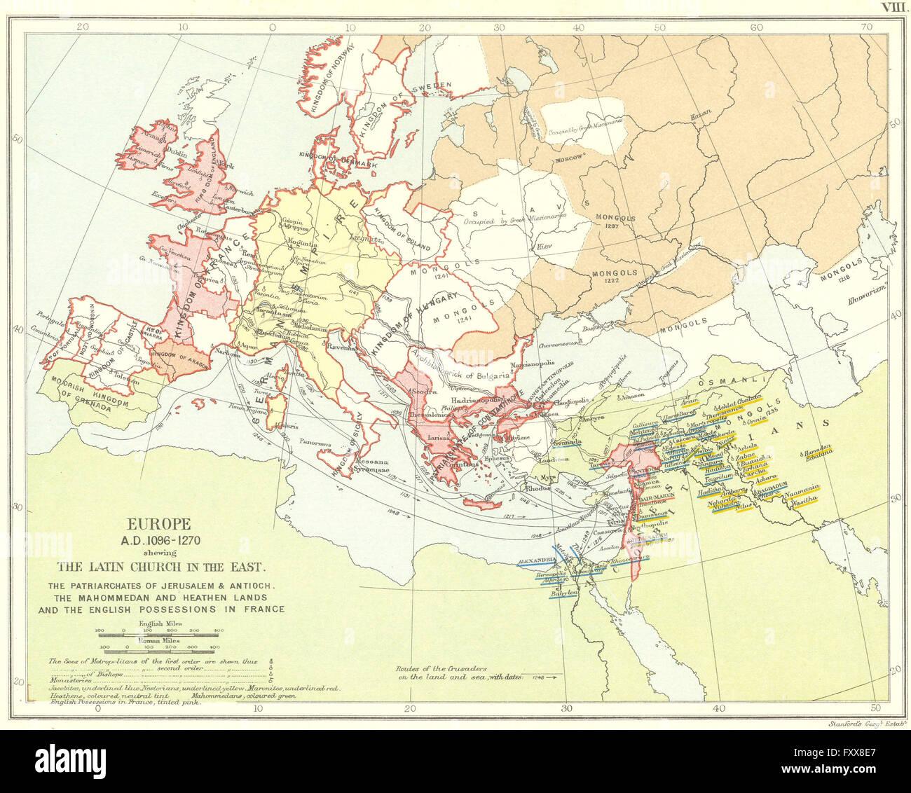 RELIGIOUS EUROPE 1096-1270: Latin Church Patriarchates Monasteries, 1897 map - Stock Image