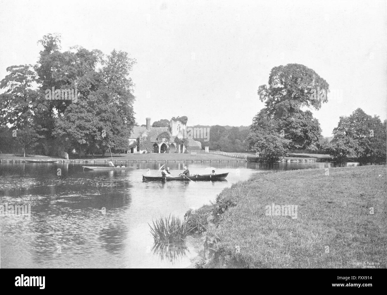 BUCKS: Medmenham river boats rowing, antique print 1897 Stock Photo