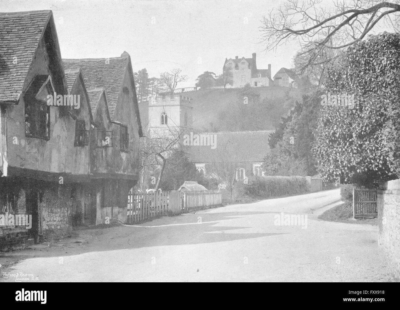 BUCKS: Medmenham village, antique print 1897 Stock Photo