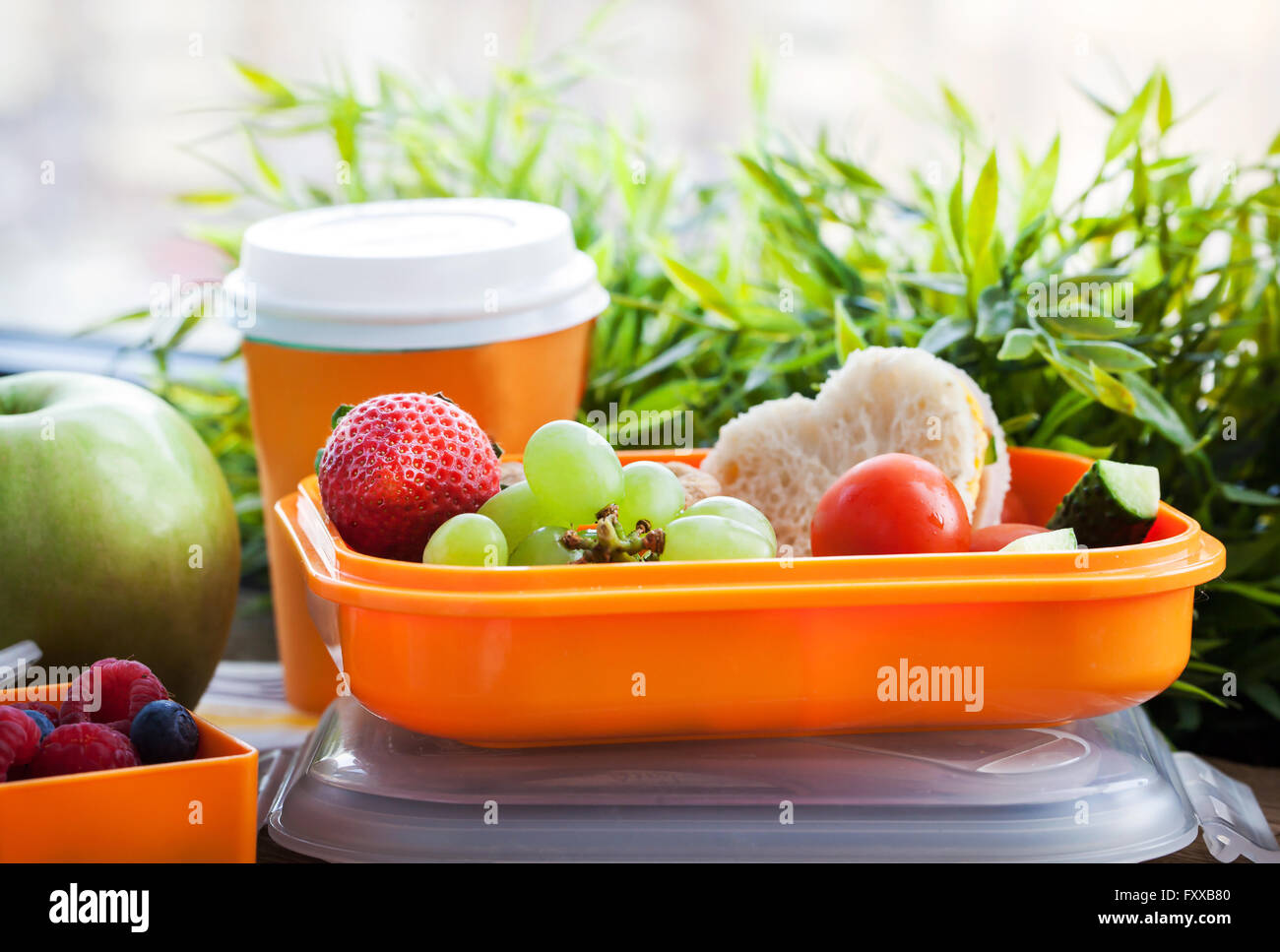 Lunch box for kids with sandwich, cookies, fresh veggies and fruits - Stock Image