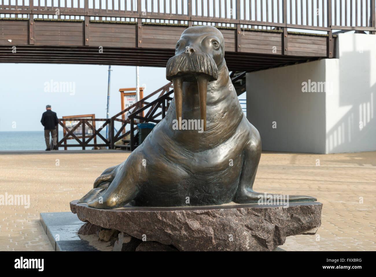 Walrus Statue In Mielno Koszalin County West Pomeranian Stock