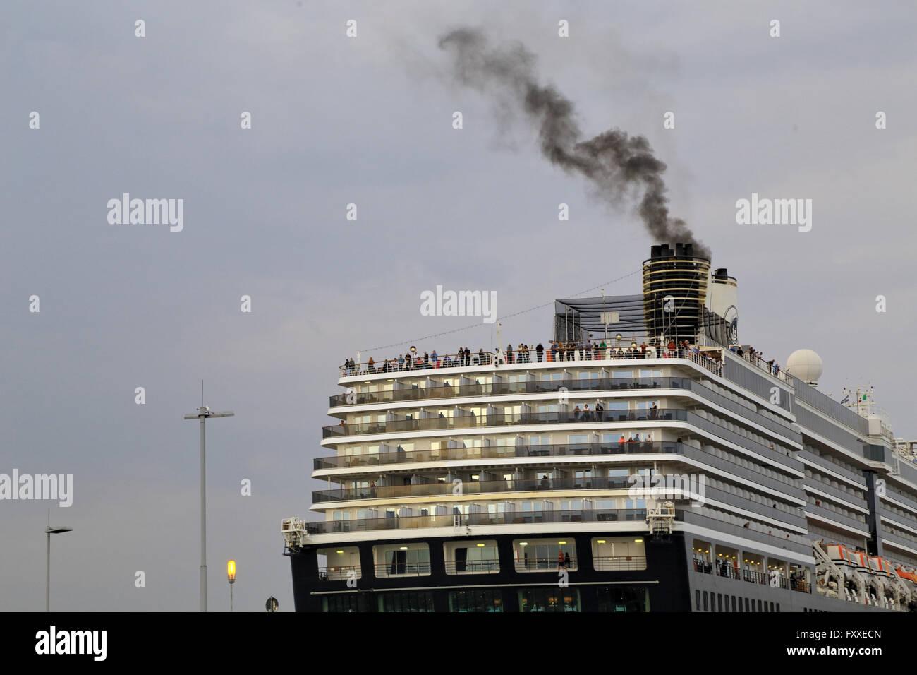 Ship smoke. Increasing cruise ship pollutions in Venice prompted into a 'no grandi navi' protest. - Stock Image