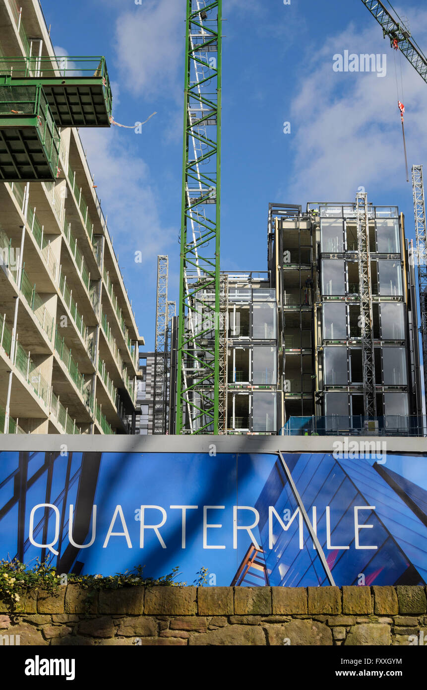 Developers sign at The Quartermile development, Edinburgh, Scotland. - Stock Image