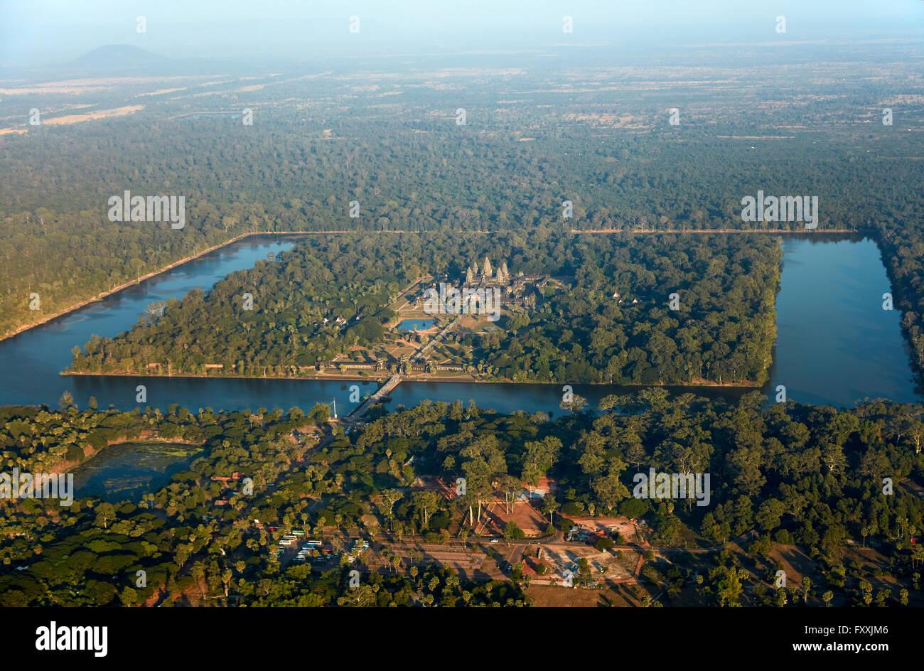 Moat around Angkor Wat, UNESCO World Heritage Site, Siem Reap, Cambodia - aerial - Stock Image