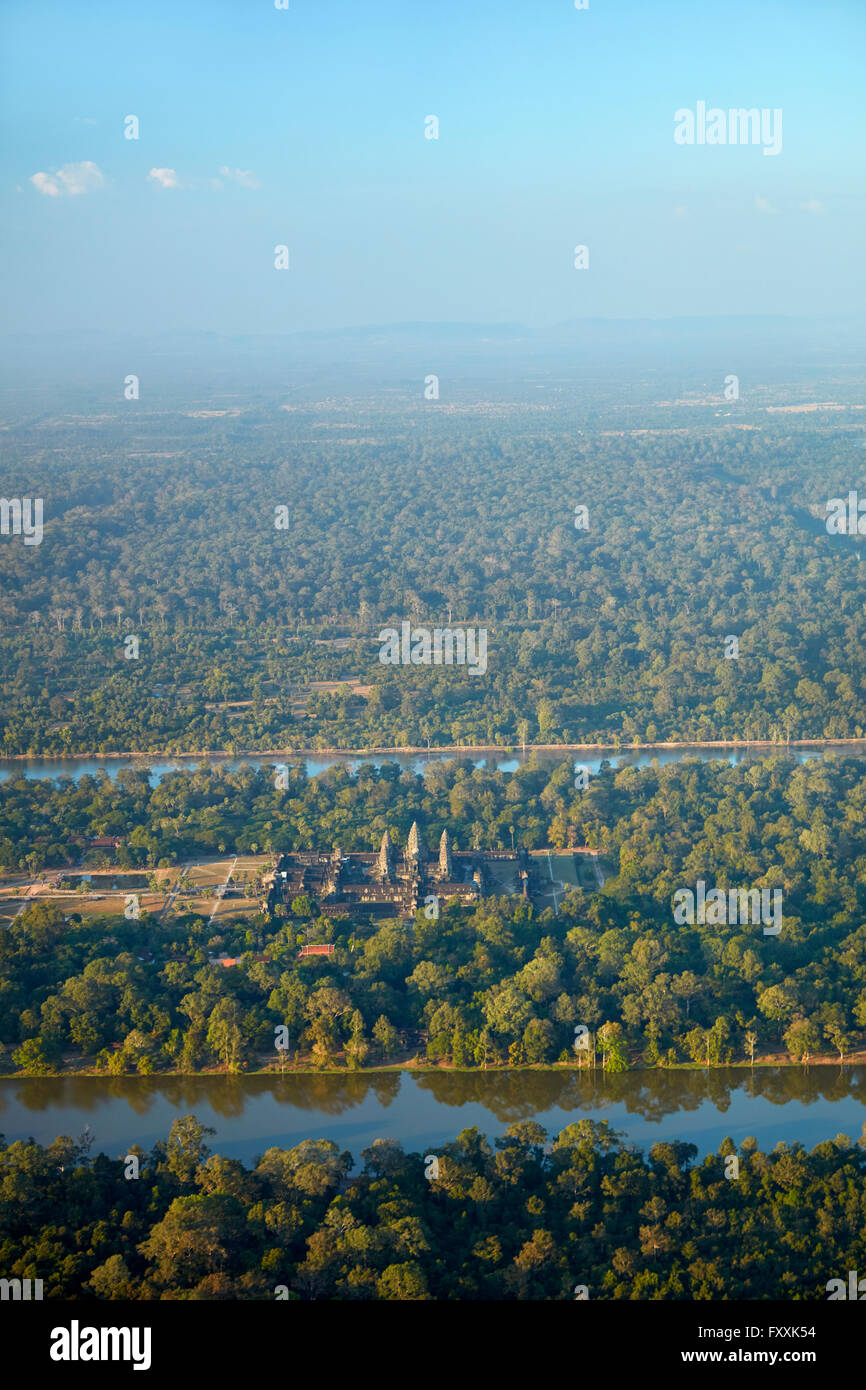 Moat around Angkor Wat, UNESCO World Heritage Site, Siem Reap, Cambodia - aerial Stock Photo