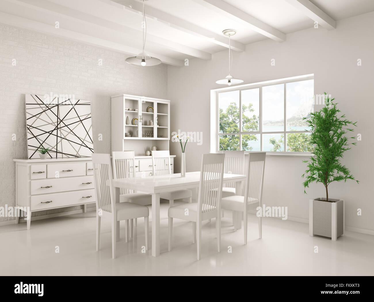 Interior of white classic dining room 3d rendering - Stock Image
