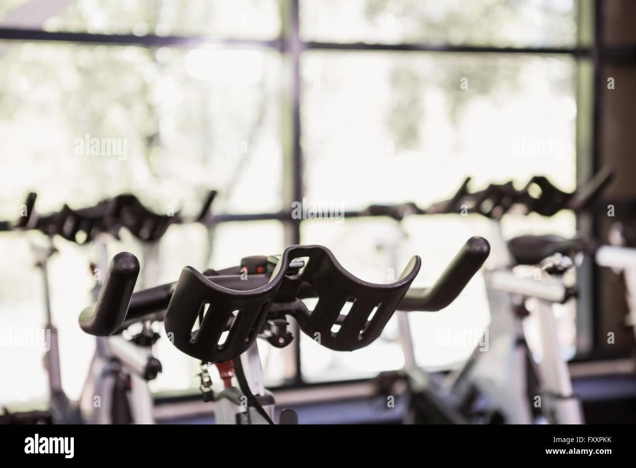Close-up of exercise bike Stock Photo