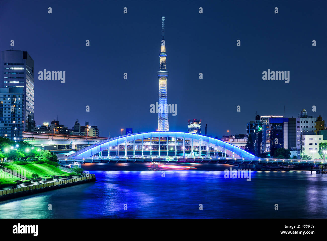 Tokyo, Japan skyline on the Sumida River with the Skytree at night. - Stock Image