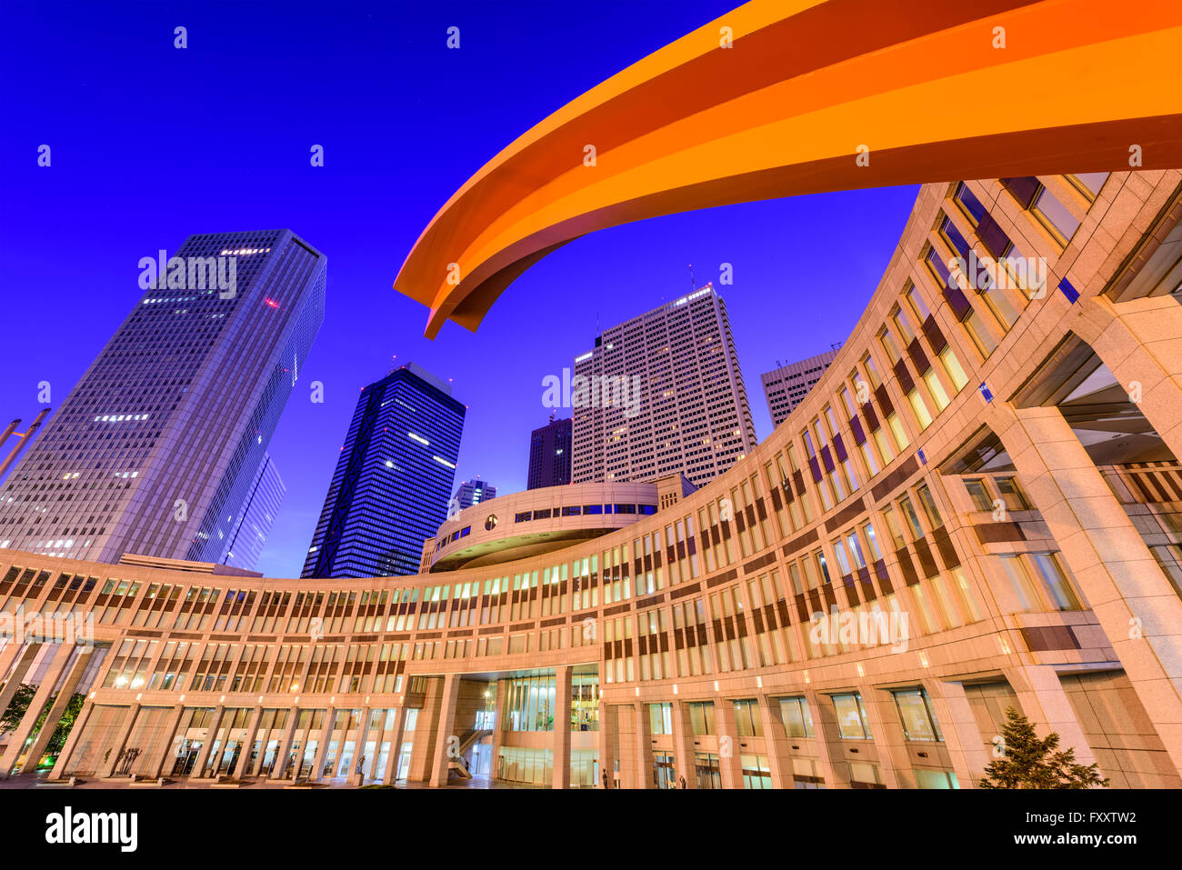 Tokyo, Japan cityscape amongst government buildings in the nishi-Shinjuku district. - Stock Image
