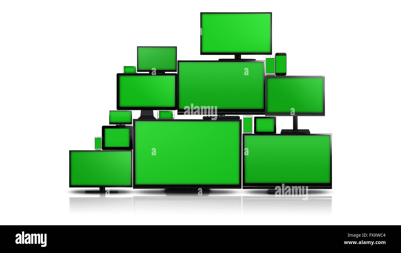 Many different types of screens. TVs, computer monitors, smartphones and tablets. They laid on each other in a pile - Stock Image