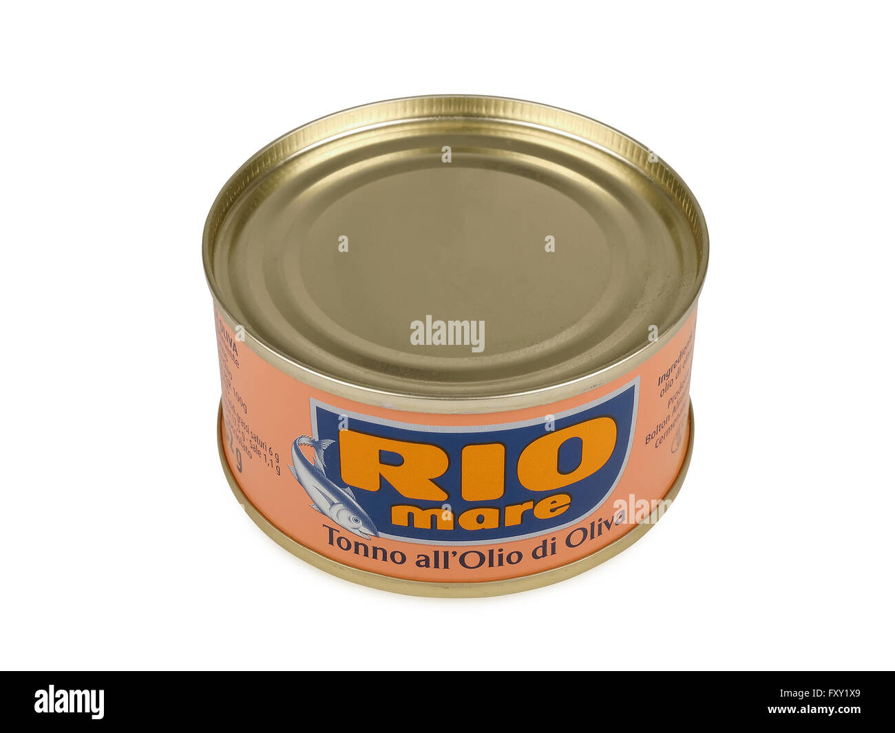 Can of Rio Mare brand tuna in olive oil. Rio Mare is manufactured by Bolton Group. - Stock Image