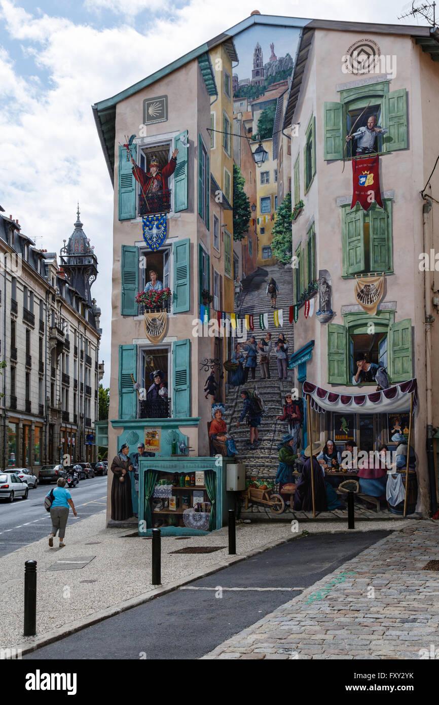 Mural in Le Puy-en-Velay, Haute-Loire, France - Stock Image