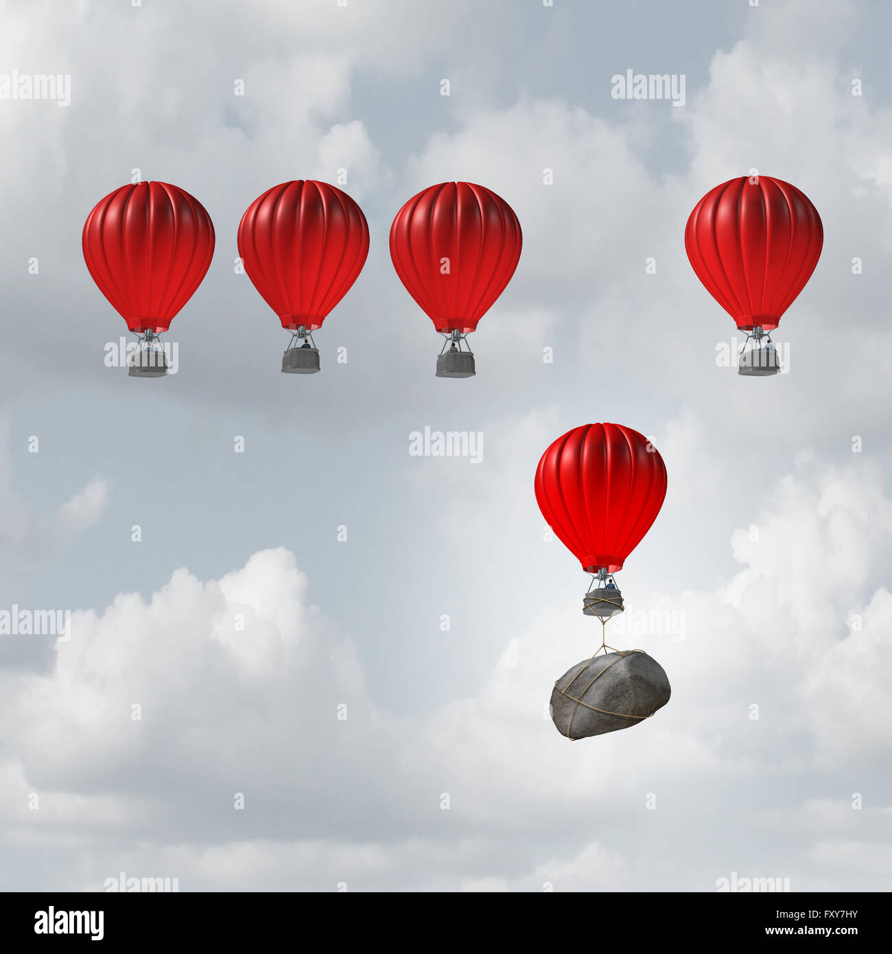 Competitive struggle and business disadvantage or disability concept as a group of hot air balloons racing to the - Stock Image
