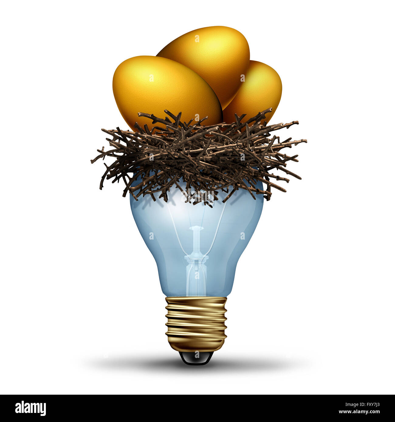 Retirement savings idea as a financial concept for finance planning as a golden nest egg  resting in a light bilb - Stock Image