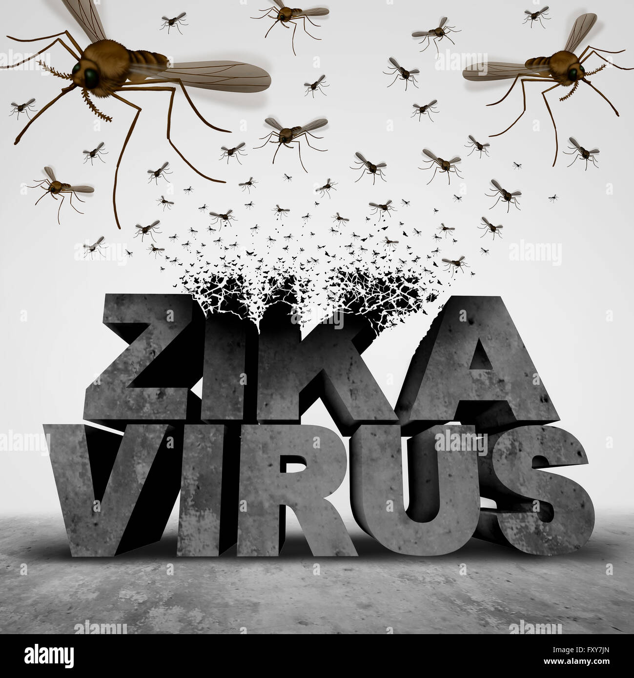 Zika virus danger concept as a 3D illustration text transforming to a group of swarming infectious mosquitos spreading - Stock Image
