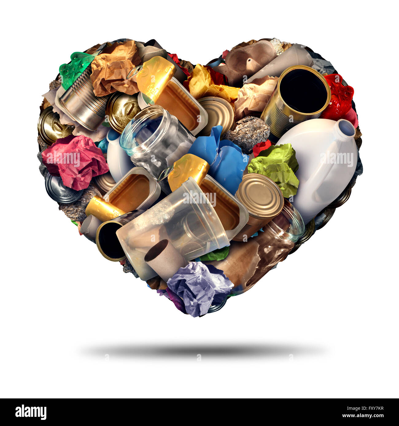 Recycle heart recycling symbol and reuse of scrap metal plastic and paper concept as an illustration on a white - Stock Image