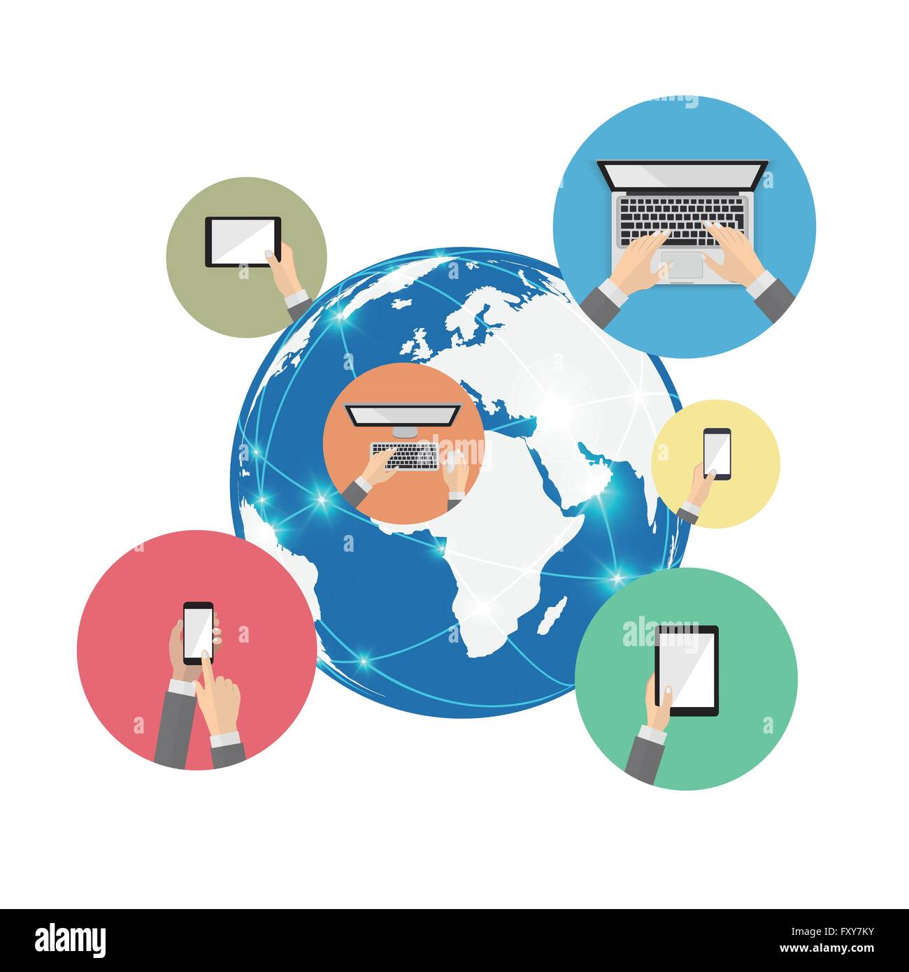 Global communication and digital device information - Stock Image