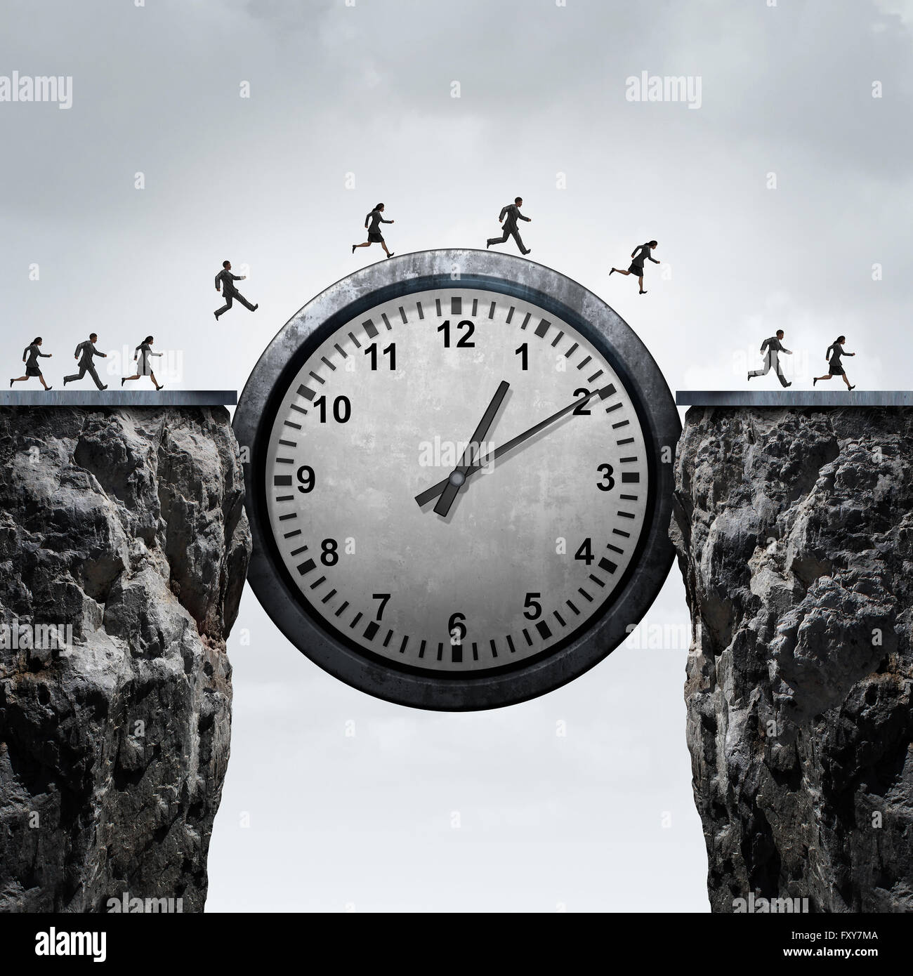 Business time concept as a group of running businessmen and businesswomen using a giant clock to cross over a cliff - Stock Image