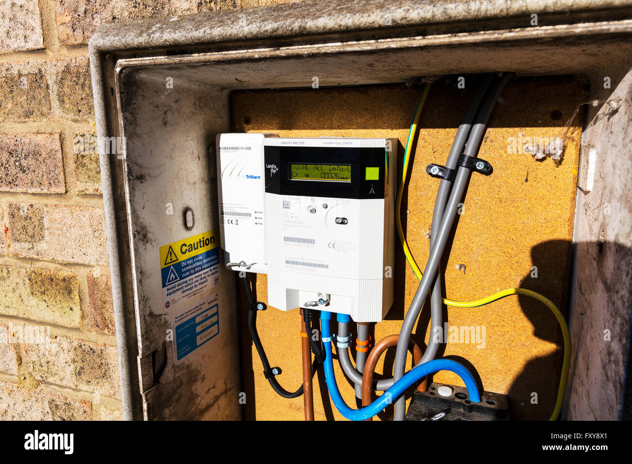British gas electric electricity smart meter monitoring usage energy home technology UK meters metering real time - Stock Image