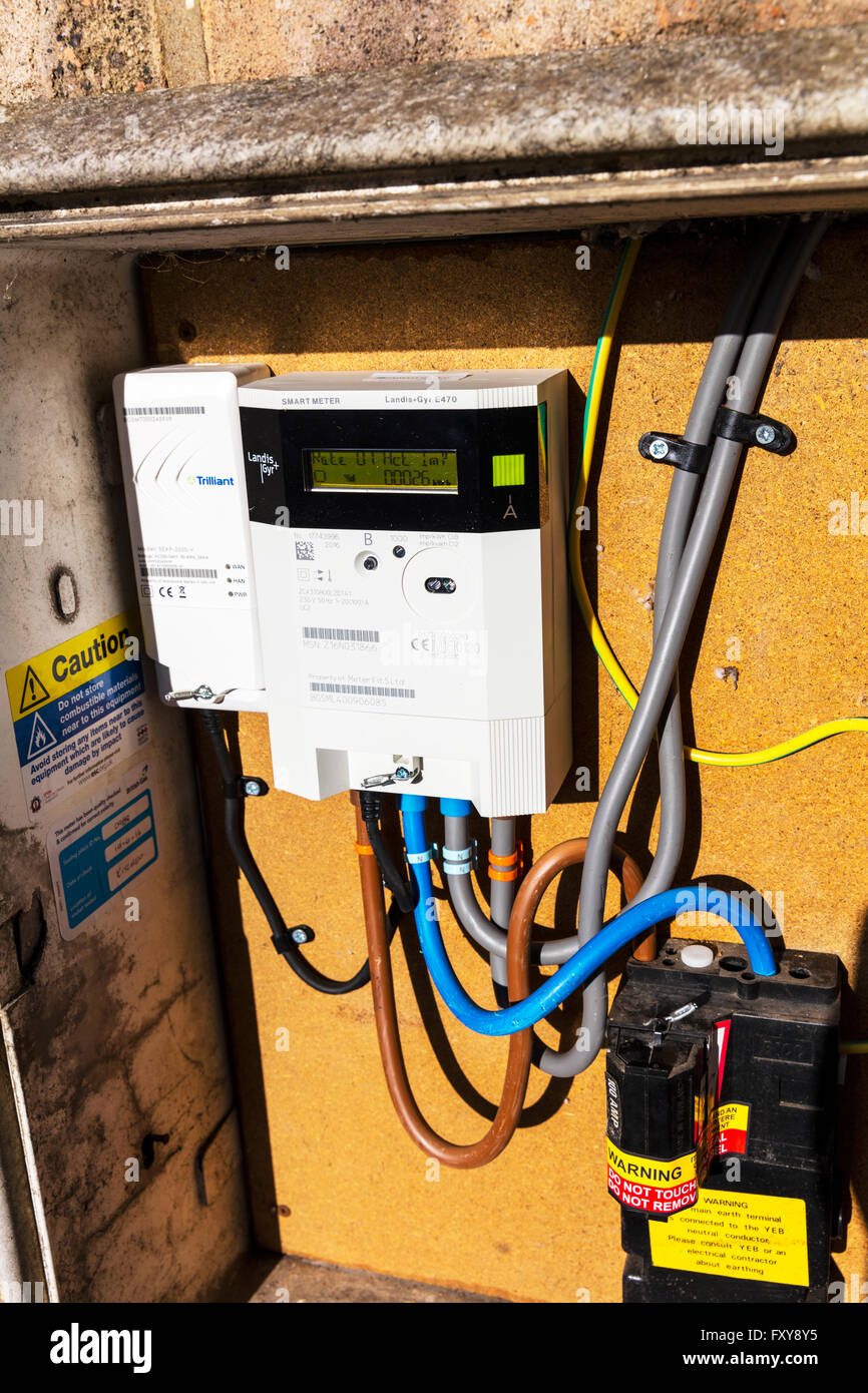 electric electricity smart meter British gas monitoring usage energy home technology UK meters metering real time - Stock Image