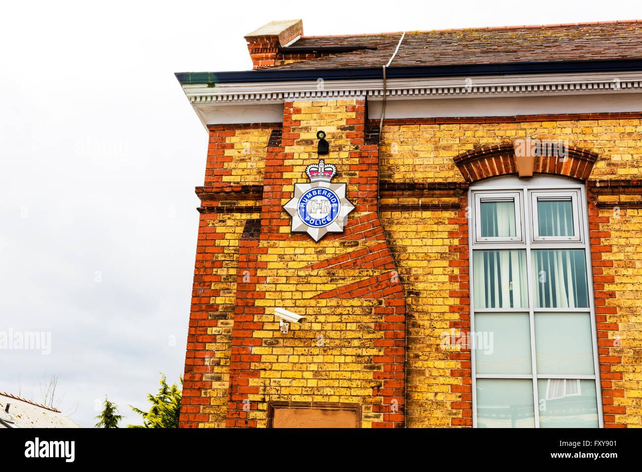 Humberside police station sign Bridlington police station building Yorkshire UK England town towns - Stock Image