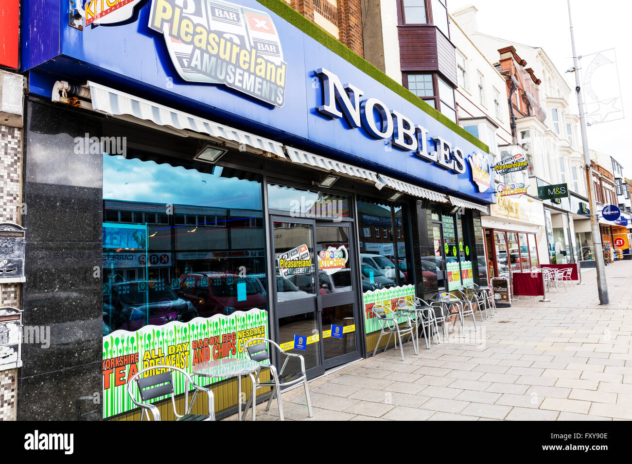 Nobles Amusement arcade Bridlington shop front sign exterior Yorkshire UK England coastal town towns - Stock Image