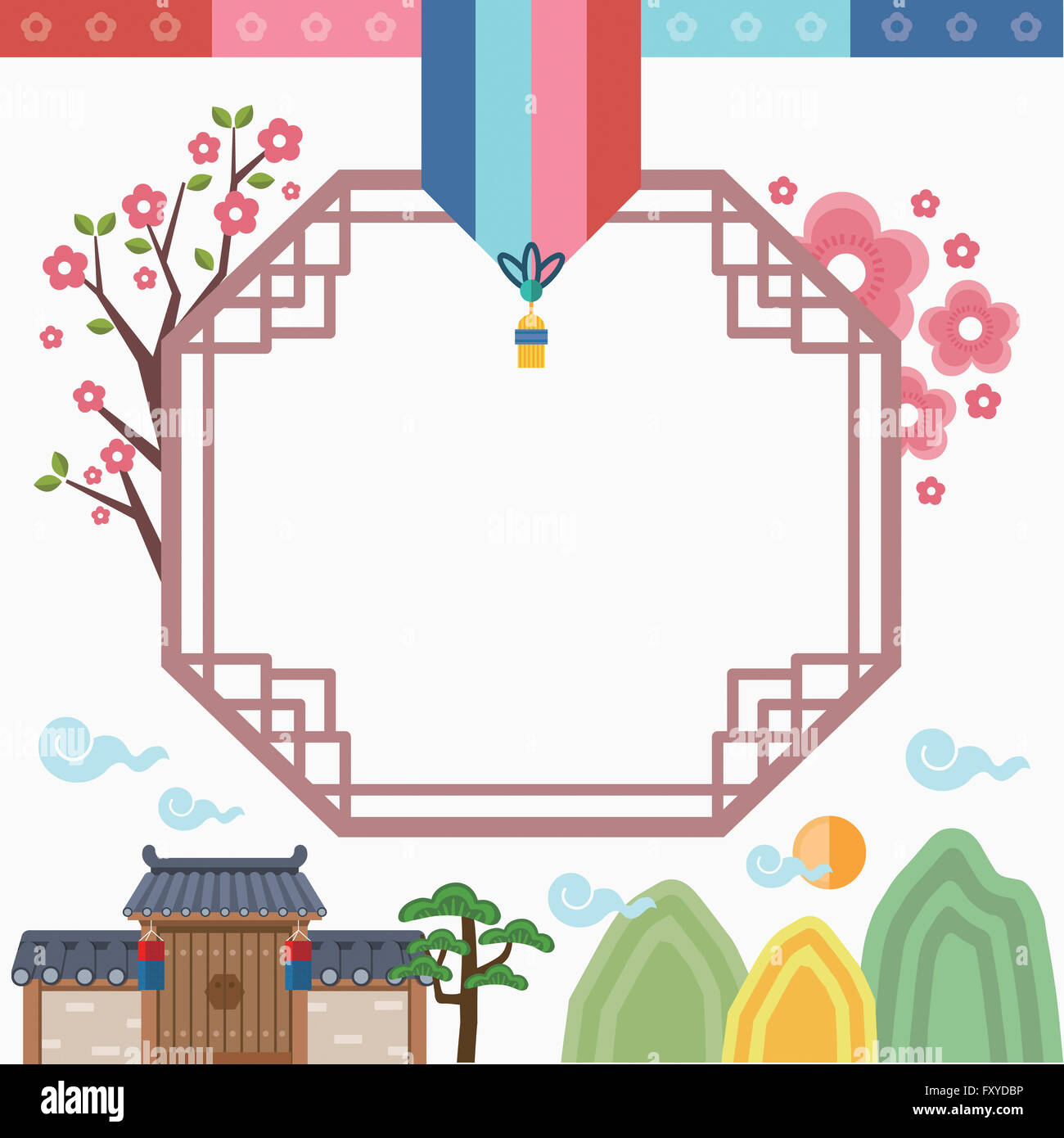a636ec96c64 Frame with traditional Korean patterns Stock Photo  102636122 - Alamy
