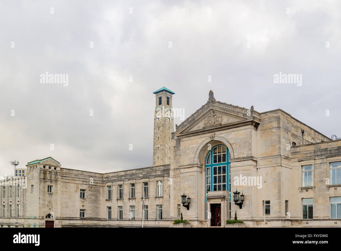 Beautiful government building - Southampton City Council in a cloudy day - Stock Image