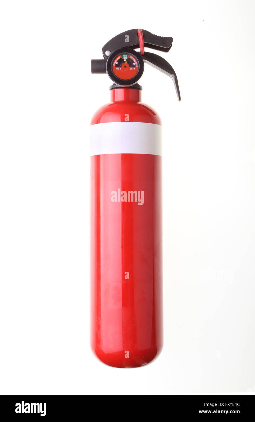 Red fire extinguisher isolated on white background. - Stock Image