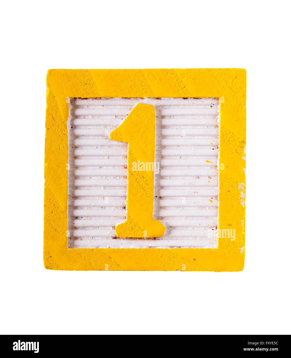 Wooden  alphabet block with numeral number 1 isolated on white - Stock Image